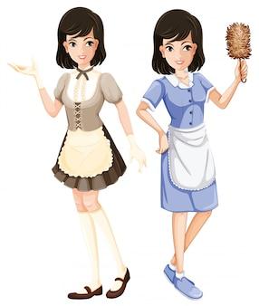Personaggio di cameriera con uniforme
