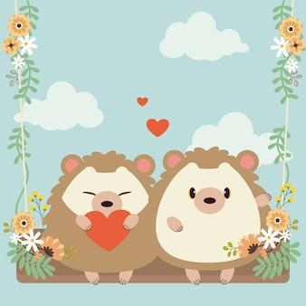 Personaggio di carino coppia innamorata riccio seduto un'altalena sul cielo.