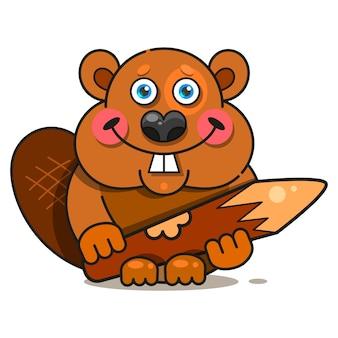 Personaggio di castoro felice in stile piano.