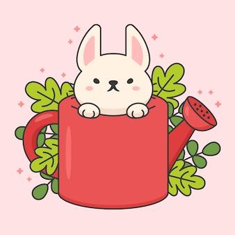 Personaggio di coniglio carino in un annaffiatoio e foglie