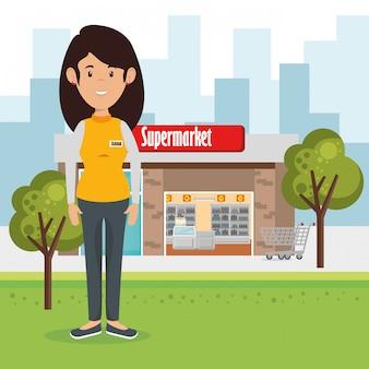 Personaggio di donna venditore supermercato