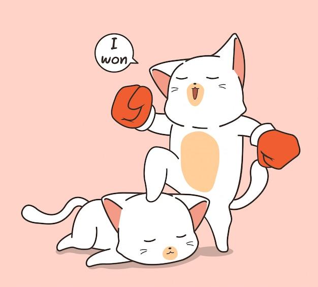 Personaggio di gatto boxe kawaii
