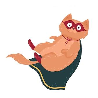 Personaggio di gatto supereroe in costume. simpatico animale in maschera e mantello.