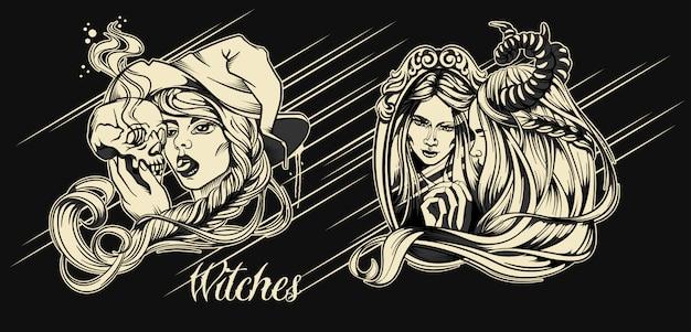 Personaggio di halloween di streghe