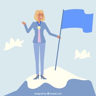 Personaggio di imprenditrice in cima a una montagna