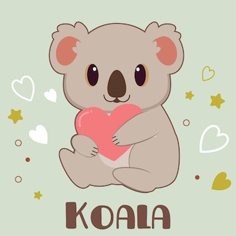 Personaggio di koala carino che abbraccia un cuore in verde
