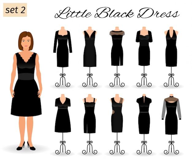 Personaggio di moda donna in abitino nero. set di abiti da sera per cocktail su manichini.