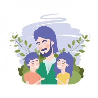 Personaggio di padre con figli avatar
