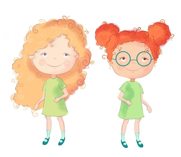 Personaggio di ragazze simpatico cartone animato