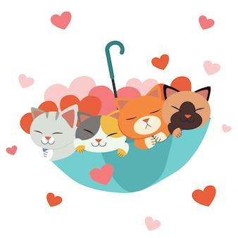 Personaggio di simpatico gatto e amici sotto l'ombrello con un sacco di cuore su bianco