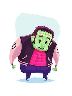 Personaggio di zombie in piedi cartoon illustrazione di halloween