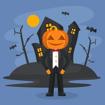 Personaggio di zucca di halloween