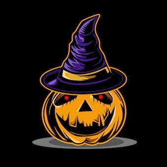 Personaggio di zucca helloween con cappello horror wizard