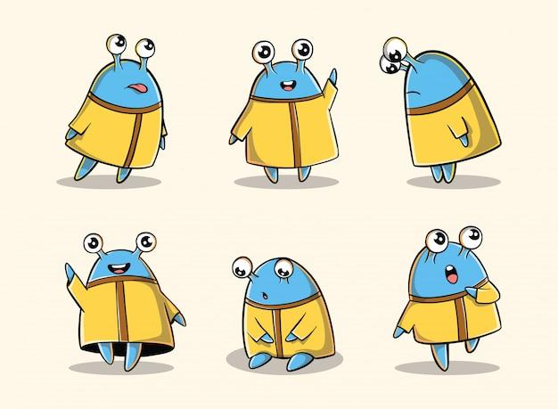Personaggio divertente doodle disegnato a mano con espressioni