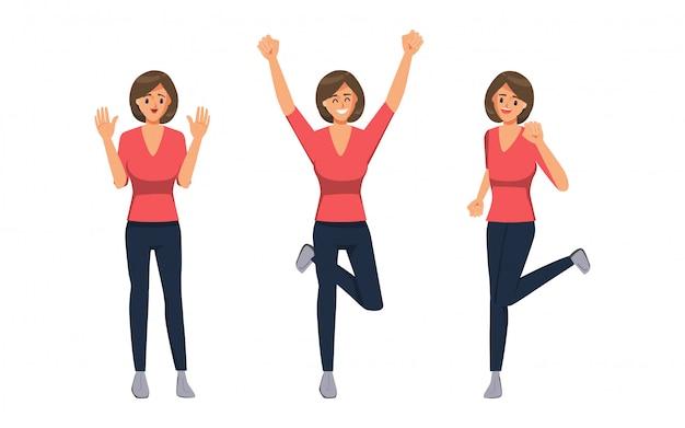 Personaggio donna felice di successo emozione faccia