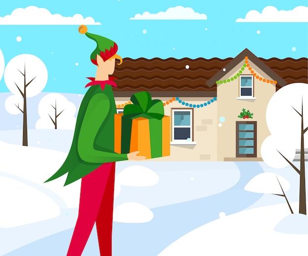 Personaggio elfo che porta bel regalo a casa.