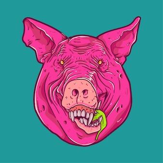 Personaggio faccia da maiale