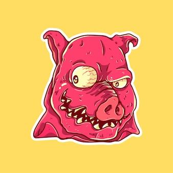 Personaggio faccia da mostro di maiale