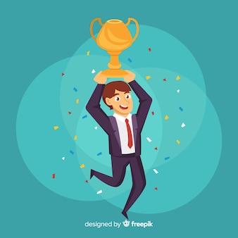 Personaggio felice vincendo un premio con design piatto