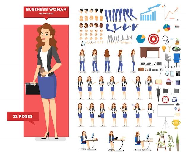Personaggio imprenditrice in tuta impostato per l'animazione con varie viste, acconciatura, emozione, posa e gesto. attrezzature per ufficio diverse. illustrazione