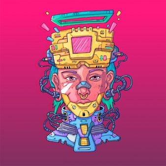 Personaggio in futuristico stile virtuale. illustrazione cyber punk. arte del fumetto per il web e la stampa. trendy cyber art.