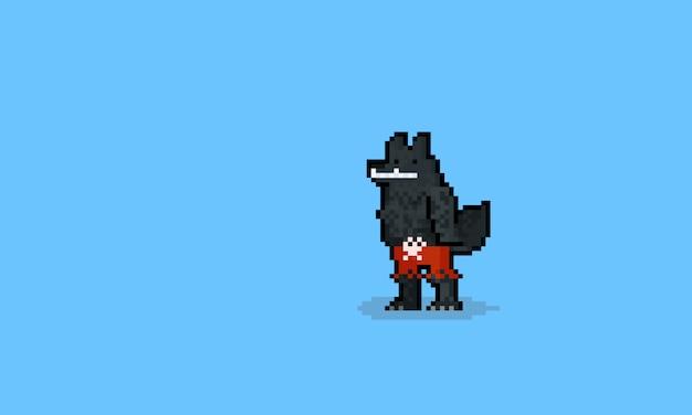 Personaggio lupo mannaro pixel art che indossa pantaloni rossi. halloween. 8bit.