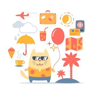 Personaggio maschile gatto turistico indossando occhiali da sole e una camicia
