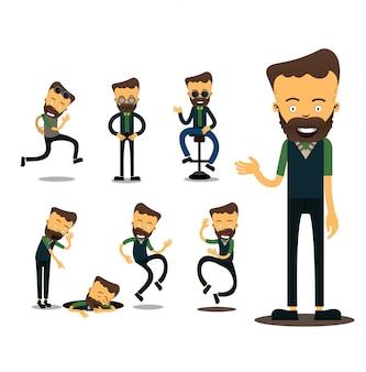 Personaggio maschile in diverse situazioni