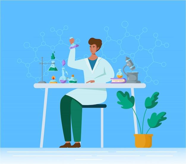 Personaggio maschile piatto in laboratorio chimico o medico, medico o scienziato con microscopio in laboratorio