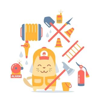 Personaggio maschile pompiere gatto in tuta e casco