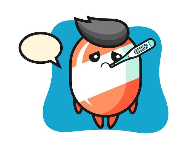 Personaggio mascotte candy con condizione di febbre
