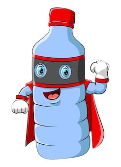 Personaggio mascotte dei cartoni animati di bottiglia di plastica di acqua che indossa il costume da supereroe