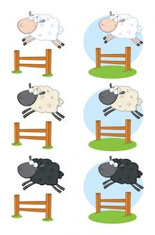 Personaggio mascotte dei cartoni animati di pecora