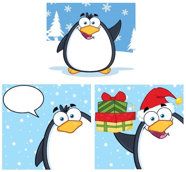 Personaggio mascotte dei cartoni animati pinguino