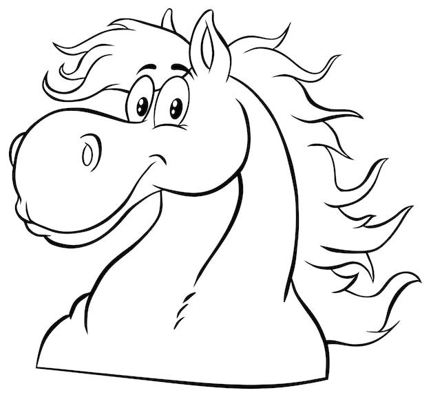 Personaggio mascotte dei cartoni animati testa di cavallo bianco e nero. illustrazione isolato su bianco