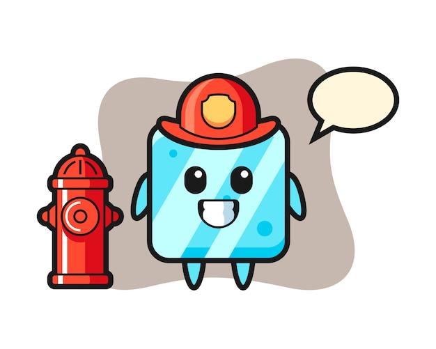 Personaggio mascotte del cubo di ghiaccio come vigile del fuoco