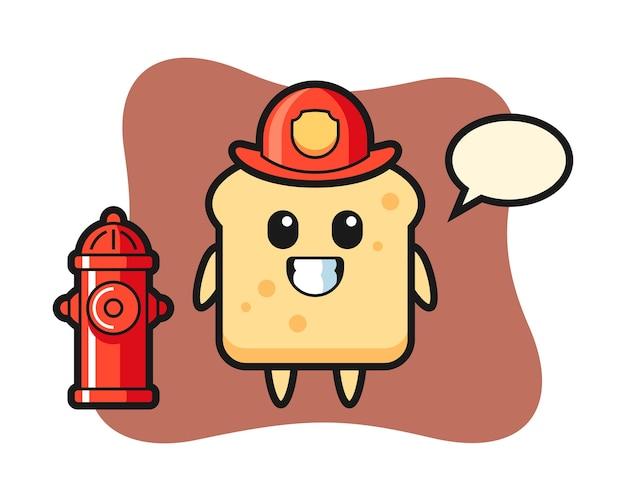 Personaggio mascotte del pane come pompiere
