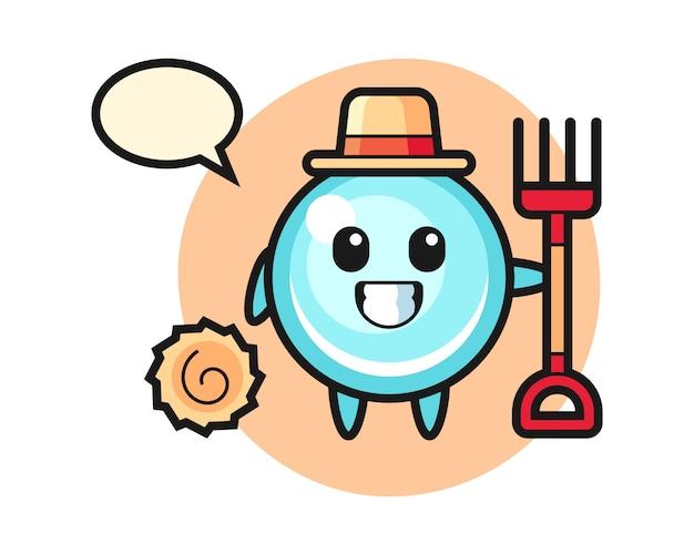 Personaggio mascotte della bolla come un contadino, design in stile carino