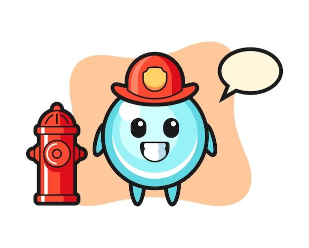 Personaggio mascotte della bolla come un pompiere, design in stile carino