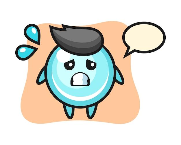 Personaggio mascotte della bolla con gesto impaurito, design in stile carino