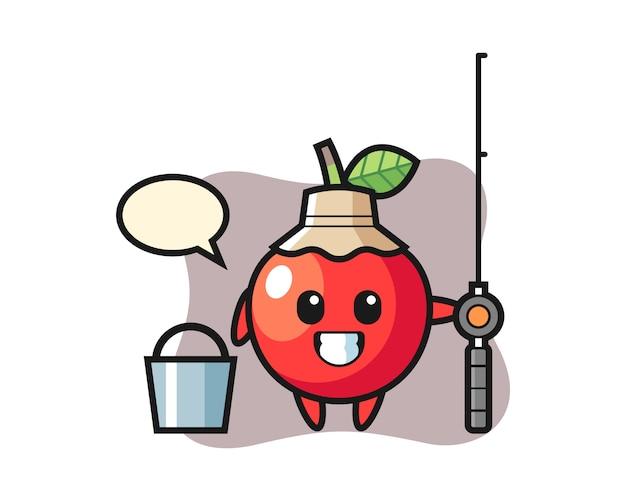 Personaggio mascotte della ciliegia come pescatore, design in stile carino