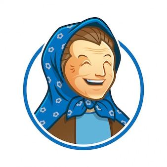 Personaggio mascotte della nonna con modello di logo di velo