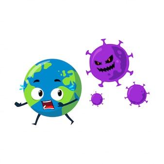 Personaggio mascotte della terra che parte dal coronavirus