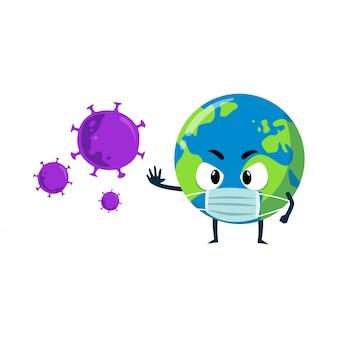 Personaggio mascotte della terra contro il coronavirus