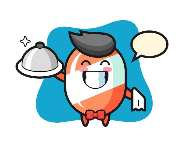Personaggio mascotte di caramelle come camerieri