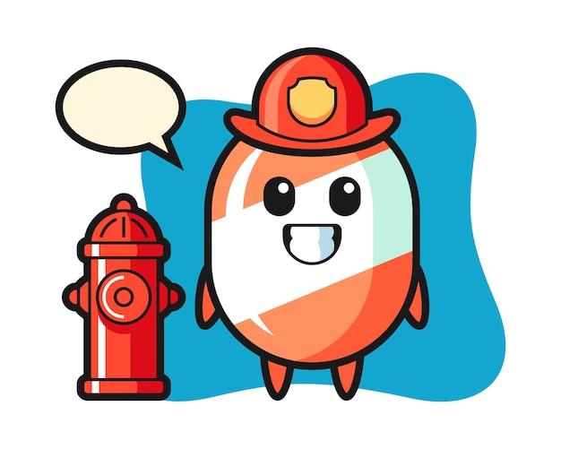 Personaggio mascotte di caramelle come un pompiere