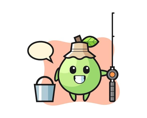 Personaggio mascotte di guava come pescatore, design in stile carino per maglietta, adesivo, elemento logo