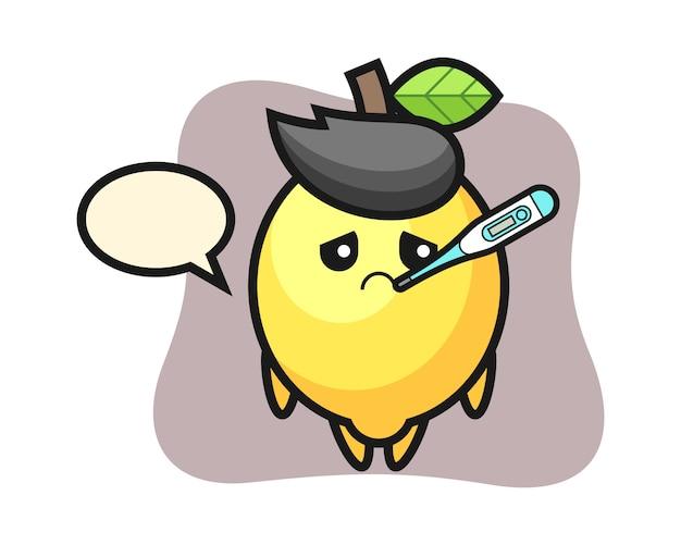 Personaggio mascotte di limone con condizione di febbre