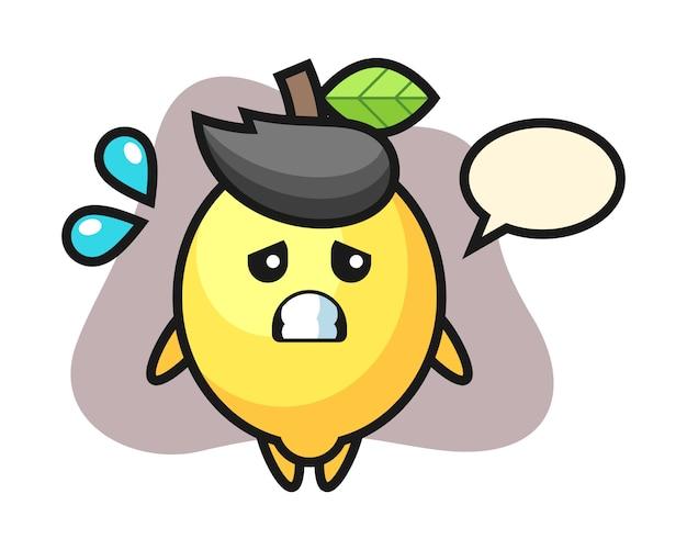 Personaggio mascotte di limone con gesto impaurito