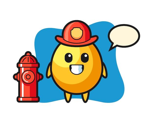 Personaggio mascotte di uovo d'oro come un pompiere, design in stile carino